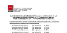 Calendario exámenes de certificación de septiembre