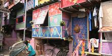 Ventanas de las casas pintadas, Copi River, Jogyakarta, Indonesi
