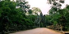 Carretera camboyana con hidras apostadas a los lados, Camboya