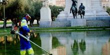 Trabajos de jardinería en la Plaza de España, Madrid