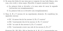Problemas de probabilidad: espacio muestral y álgebra de sucesos