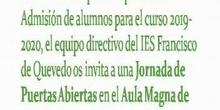 Jornada de puertas abiertas para padres 2019 IES Francisco de Quevedo.