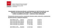 Fechas certificación 2020