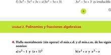 Ejercicios del cálculo del máximo común divisor y mínimo común múltiplo de varios polinomios
