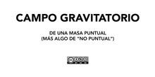Gravitación - Campo gravitatorio de una masa puntual