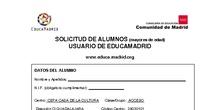 Ficha de alta de usuario (mayores edad) de EducaMadrid
