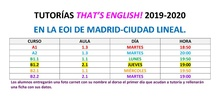 Horario tutorías That's English 2019