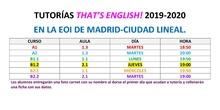 Horario tutorías That's English 2019