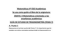4º de ESO. Guía de estudio de Trigonometría
