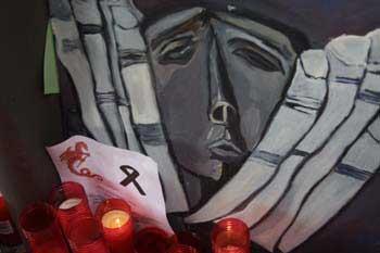 Detalle de un dibujo en memoria de las víctimas de los Atentados