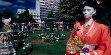 Exposición de trajes típicos en Christchurch, Nueva Zelanda