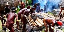 Preparación de horno y selección de piedras, Irian Jaya, Indones