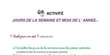 """Francés: activité """"Jours de la semaine, mois de l´année"""""""