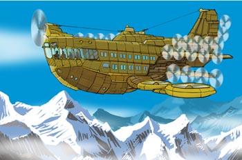 Robur el conquistador: La aeronave Albatros sobrevolando el Hima