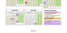 Calendario escolar. Curso 2021/2022.