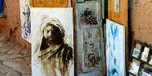 Puesto de cuadros en Ait Benhaddou, Marruecos