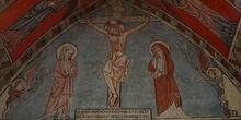 Grabado del calvario con la Virgen y San Juan, Huesca