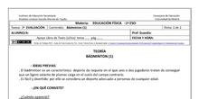 Ficha de Bádminton 1 para 1º ESO