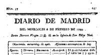 Anuncio de los Caprichos de Goya en el Diario de Madrid, 6-2-1799