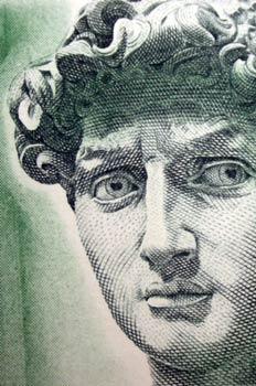 Grabado del rostro del David de Miguel ángel
