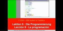 1º ESO / Tema 5 -> Punto 1 - Programación