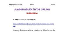 JUEGOS ONLINE MATEMÁTICAS EBO G