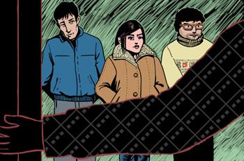 Los tres amigos: El escritor abre la puerta a tres jóvenes