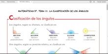 MATEMÁTICAS 5º. LA CLASIFICACIÓN DE LOS ÁNGULOS
