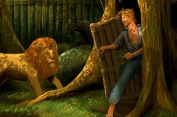 Escuela de Robinsones: Godfrey enfrentándose con un león
