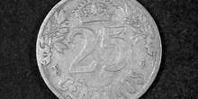 Anverso de una moneda de veinticinco céntimos de peseta, 1925