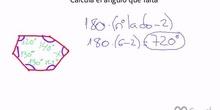 Cálculo del ángulo desconocido de un polígono