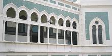 Detalle de la fachada, cementerio de mezquita Al Mashun, Medan,