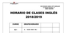 horario inglés 2018-2019