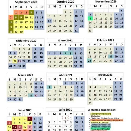 Calendario Escolar Curso 202/2021