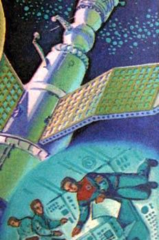Nave espacial y detalle de la vida en su interior