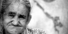 Rostro de anciana, favelas de Sao Paulo, Brasil