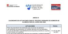 CALENDARIO ADMISIÓN 2021/22