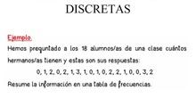 TABLA FRECUENCIA VARIABLES CUANTITATIVAS DISCRETAS