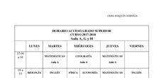 Horario Acceso a Ciclos Formativos de Grado Superior 2017/18