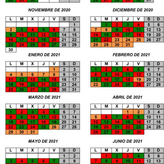 Calendario desdobles curso 2020/21