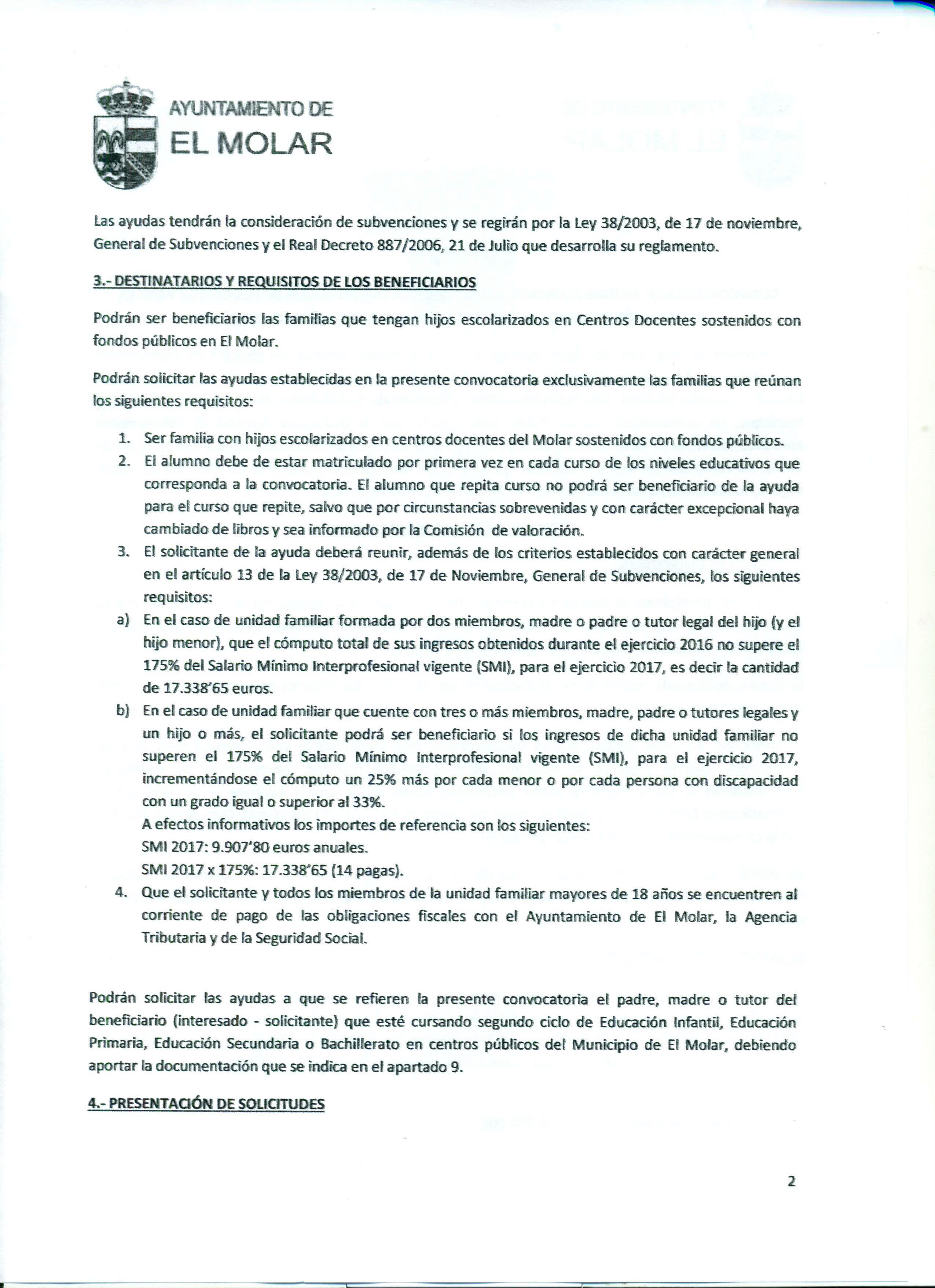 Convocatoria de ayudas económicas, que otorga la Concejalía de Educación del Ayuntamiento de El Molar, para la adquisición de libros de texto para el curso académico 2017-2018 5