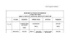 Horario Acceso a la Universidad 2017/18