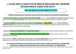 Cartel informátivo precios reducidos comedor 18/19
