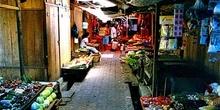 Mercado de frutas y verduras, Sulawesi, Indonesia