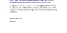 RECORDATORIO ADMISIÓN .I.E.S.  FAMILIAS 6º PRIMARIA
