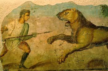 Pintura romana en el Museo Romano de Mérida, Badajoz
