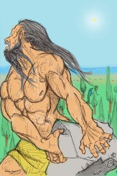 Polifemo arroja una gran piedra a Acis y lo mata