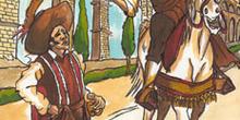 Pablos con un soldado en Segovia