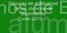 Discurso de graduación de Bachillerato - Curso 2010-11