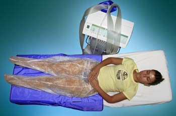 Presoterapia: modelo con pantalón protector desechable
